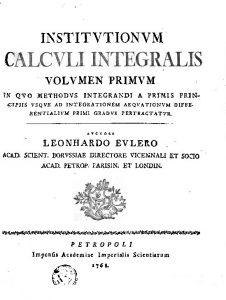 積分計算教程第1巻1768年表紙